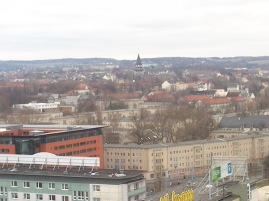Blick Vom Rosenhof-Hochhaus in Richung Lutherviertel. Die Lutherkirche ragt deutlich sichtbar hervor.