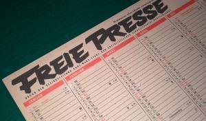 """""""Organ der Bezirksleitung Karl-Marx-Stadt der Sozialistischen Einheitspartei Deutschlands"""": Die """"Freie Presse"""" war zu DDR-Zeiten eine Parteizeitung."""