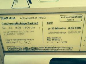 Parktickets gibt's auch preisgünstiger zu erwerben. Hier: Aue, Anton-Günter-Platz
